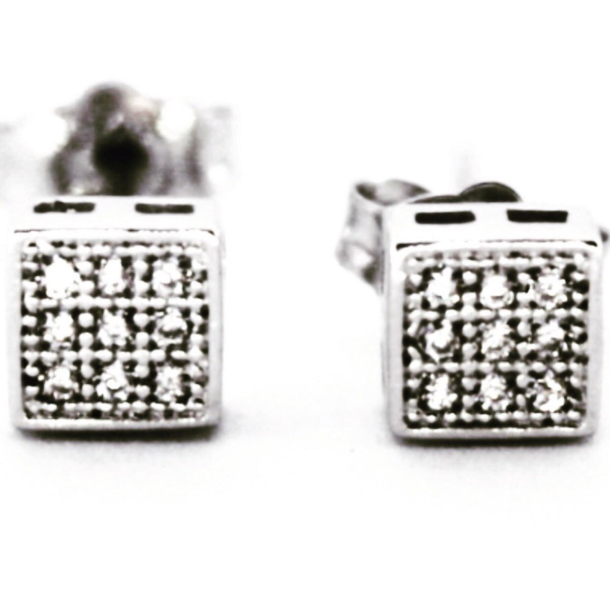 Cute White Gold on Sterling Mini Square Earrings