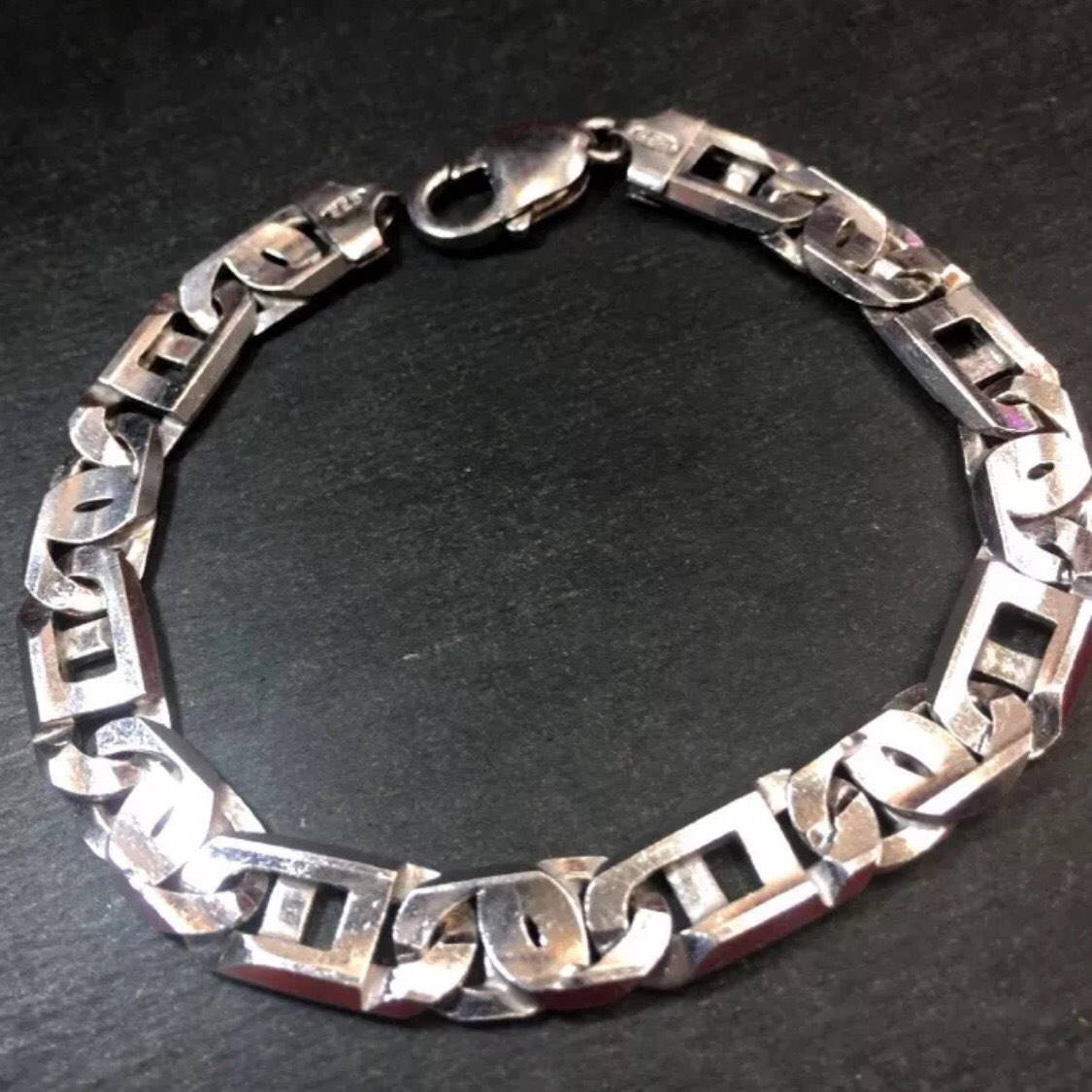 New Large Solid Silver Italian Marina Tiger-eye Link Chain Bracelet