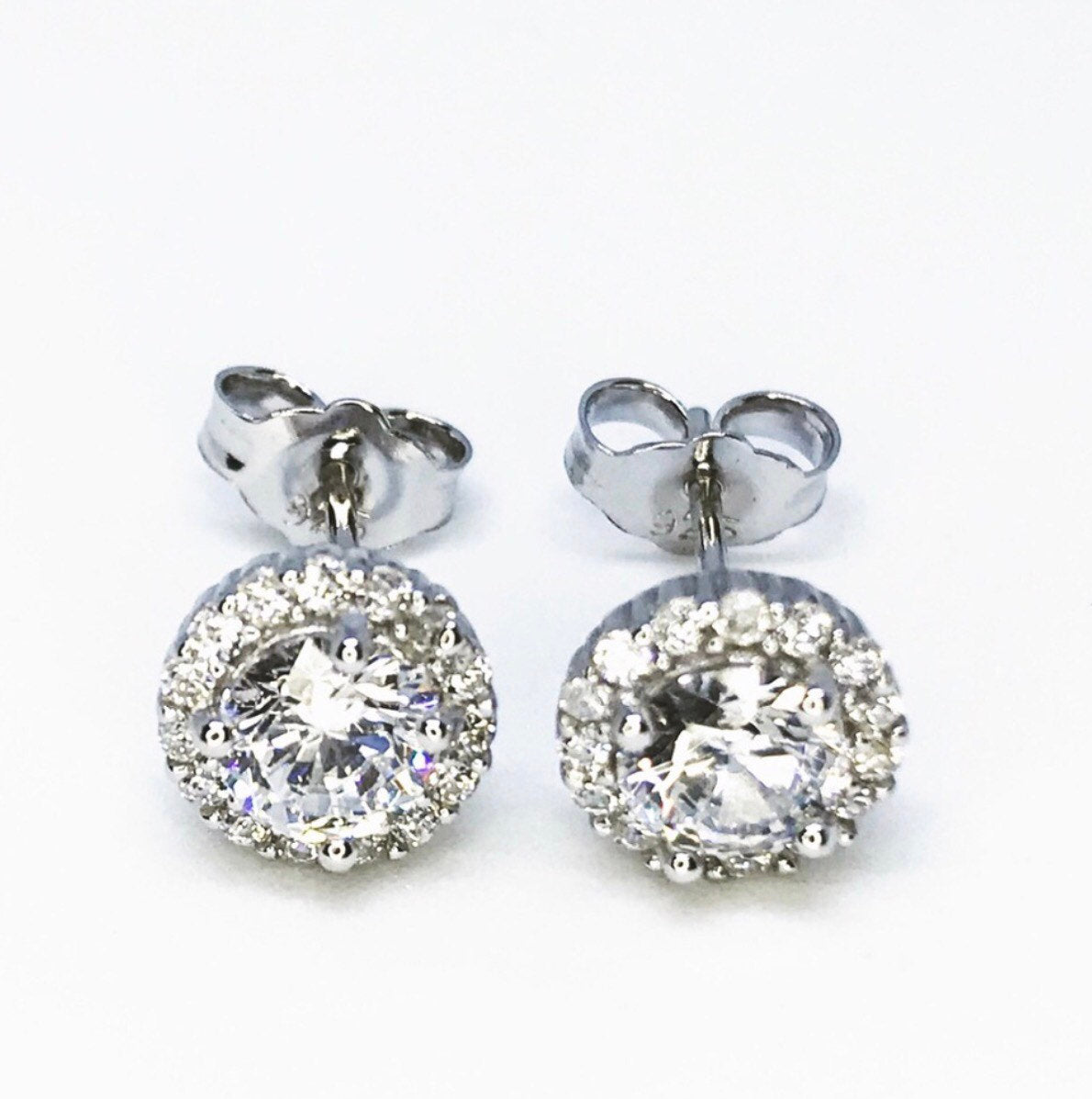 Mini Cute Sterling Silver Halo Earrings