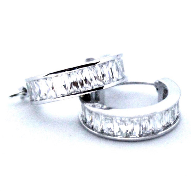 Large 14K White Gold on Silver Hoop Earrings
