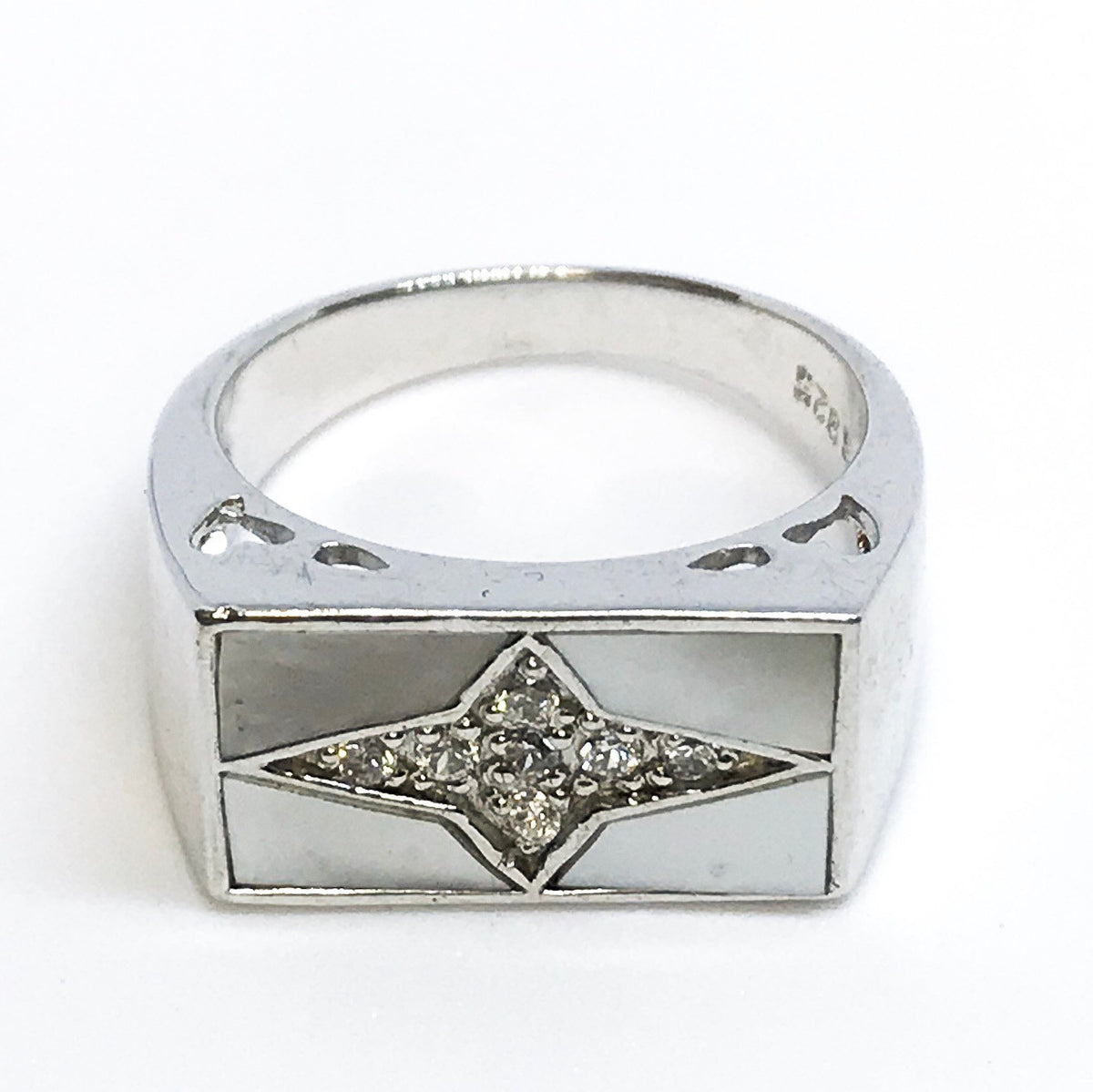 NEW 14K White Gold Layered on Sterling Silver Cross Ring