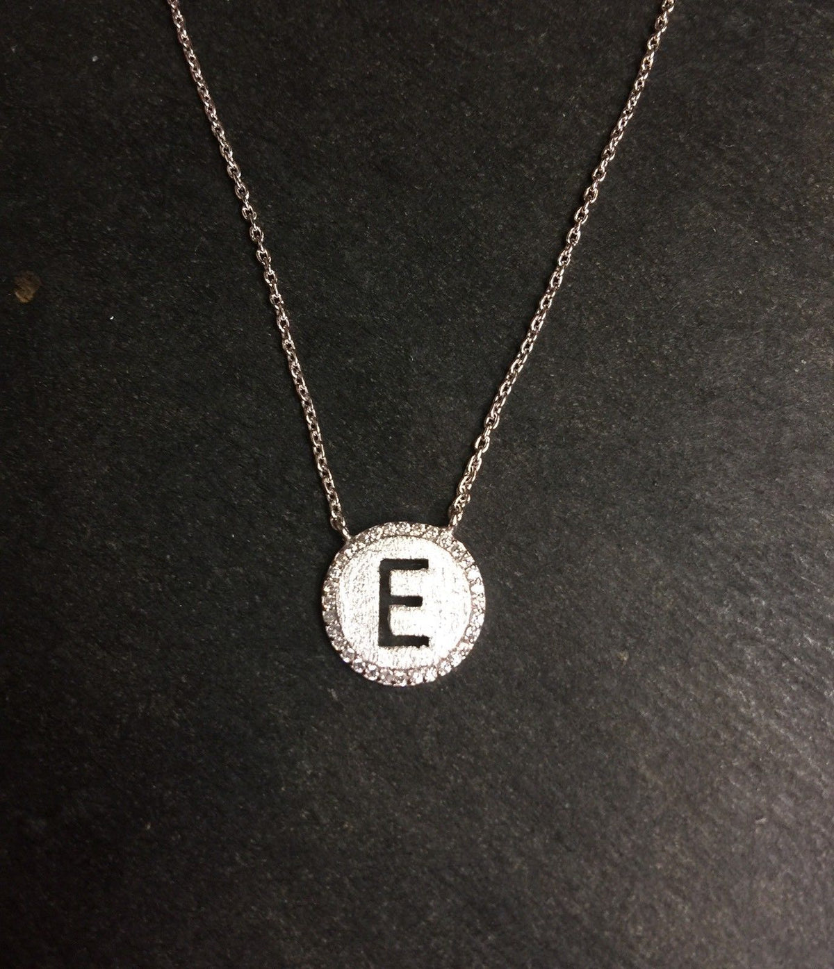 "14k Layer On Solid .925 Silver Letter ""E"" CZ Handset Cable Link Necklace: 16-18"" - 3 Royal Dazzy"