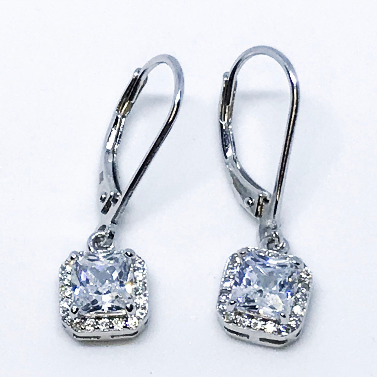 14K white gold on Sterling silver classy dangling earrings - 3 Royal Dazzy