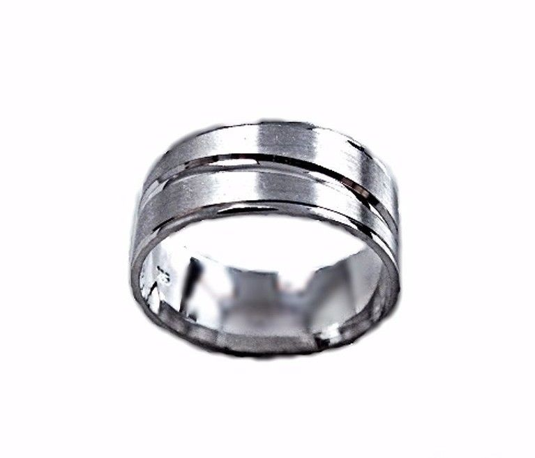 Lined Design Matte & Shiny 18k layer on Sterling Silver Ring Band 7.8 mm Size- 7