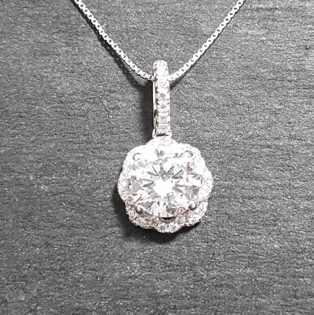 New 14k White Gold On 925 Flower Petal Pendant Charm
