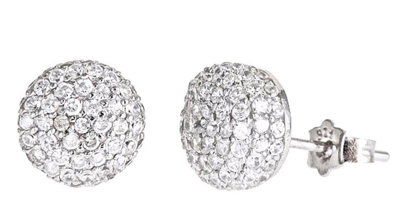 New 18k w gold layer on Dome Round Shaped 925 Sterling Silver Micro Pave CZ Stud