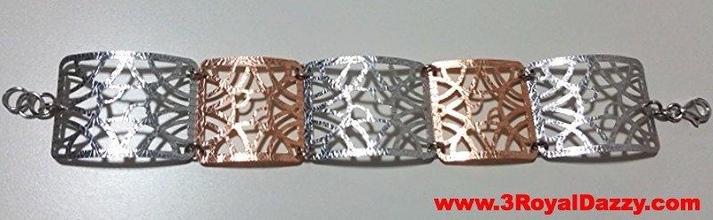 14k Rose & White Gold Layer on 925 Silver Bracelet - 3RoyalDazzy.com's Handmade Exclusive - 3 Royal Dazzy