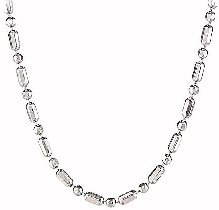"18k white gold layered over .925 sterling silver 1+1 diamond cut chain 1.6mm 20"" - 3 Royal Dazzy"