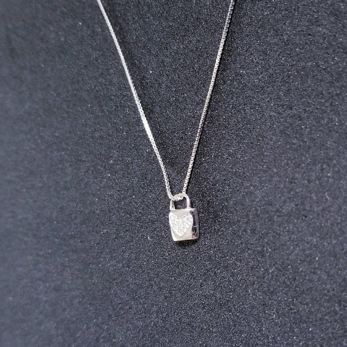 Sterling Silver Tiny Heart Locket CZ Stones Pendant Free Chain