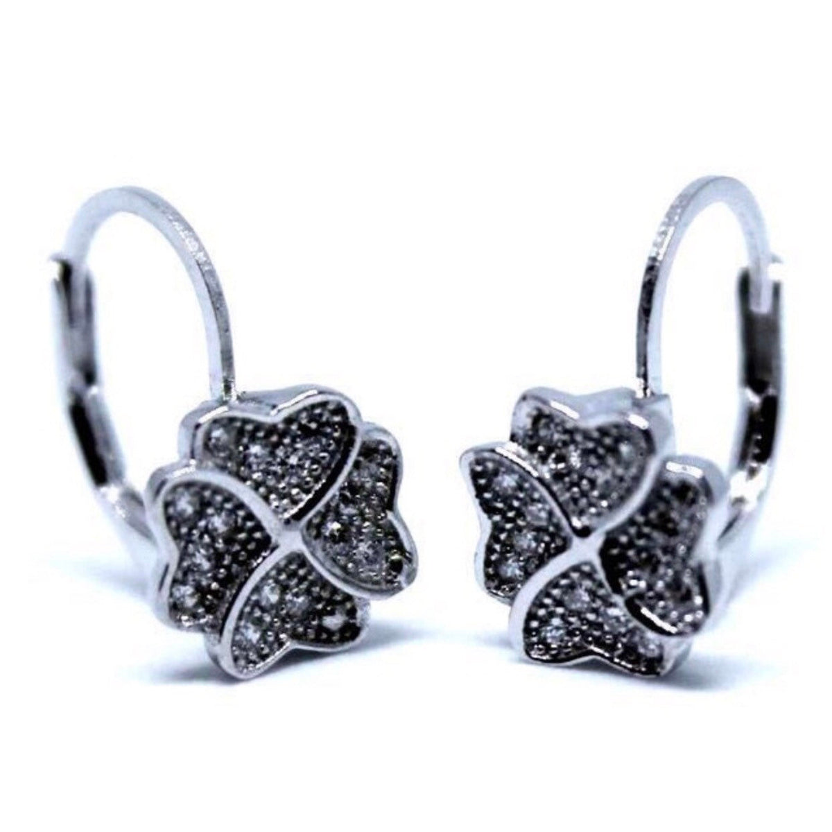 Lucky Four Leaf Clover Silver Leverback Earrings