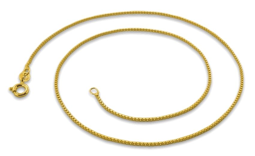 Italian 14k yellow gold layered over .925 sterling silver - 1 mm box chain -20 ""