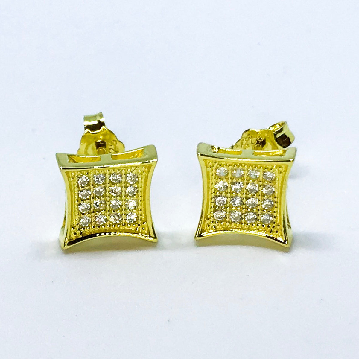 14k Yellow Gold on Sterling Silver Square Earrings - 3 Royal Dazzy