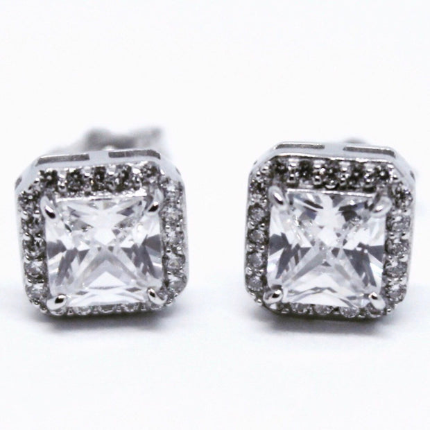 Cute White Gold on Sterling Silver Square Earrings