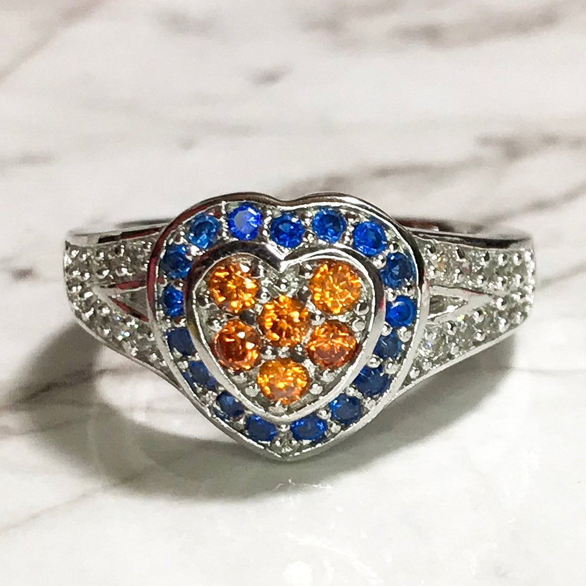 NEW 14K White Gold Layered on Sterling Silver Blue and Orange Stones Heart Ring