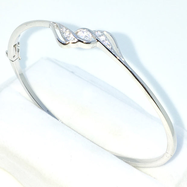 67b5d0e00f3 New White Gold Layered on 925 Solid Sterling Silver Oval Bangle Bracelets  curly big and small