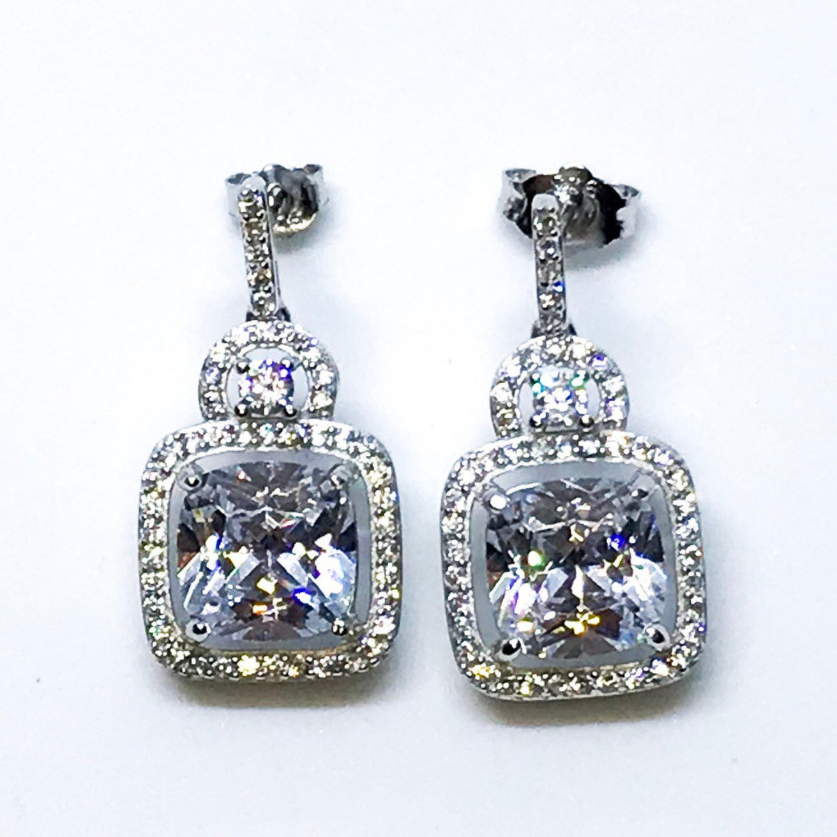 14K White Gold on Sterling Silver Dangling Sophisticated Earrings - 3 Royal Dazzy