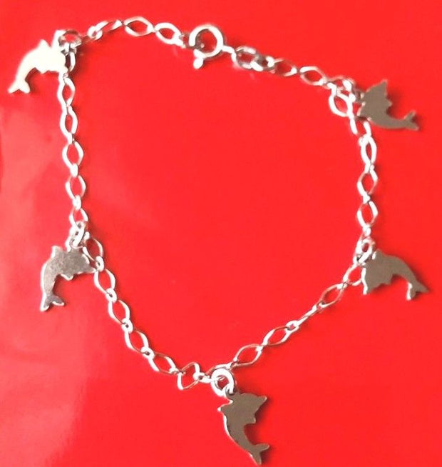 18k white gold layer on 925 Sterling Silver dangling Dolphin charms bracelet - 3 Royal Dazzy