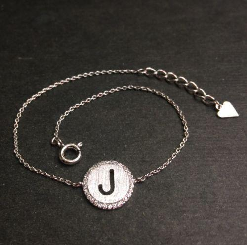 "14k Layer On Solid .925 Silver Letter ""J"" CZ Handset Cable Link Bracelet : 7-8"" - 3 Royal Dazzy"