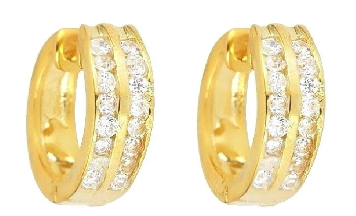 14k Y. gold layer Brilliance two row Channel set CZ Hoop Huggie Silver Earring - 3 Royal Dazzy