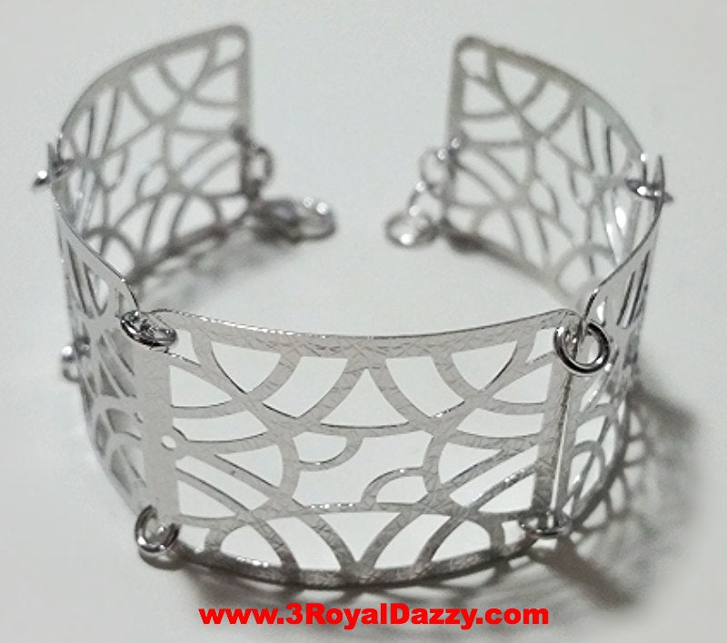 14k White Gold Layer on 925 Silver Bracelet (3RoyalDazzy.com Handmade Exclusive-7) - 3 Royal Dazzy