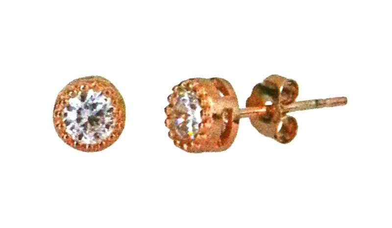 14k Rose gold layer Round Bezel prongs CZ .925 Sterling Silver Unisex Earrings - 3 Royal Dazzy