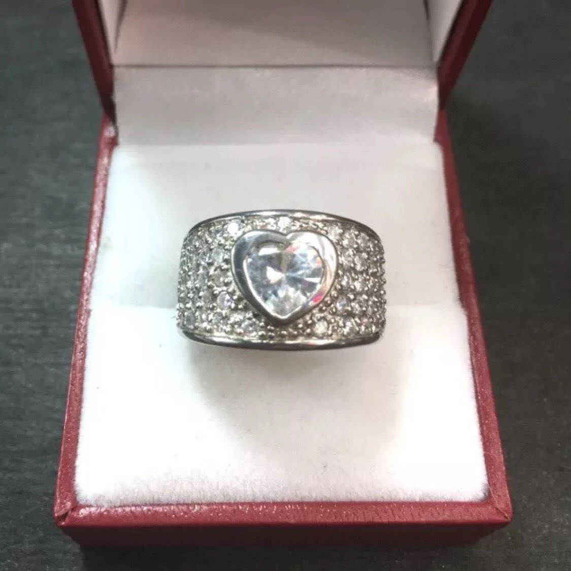 New 3.00 ct Cubic Zirconia 14k Layer On Silver Wide Heart Love Cluster Ring