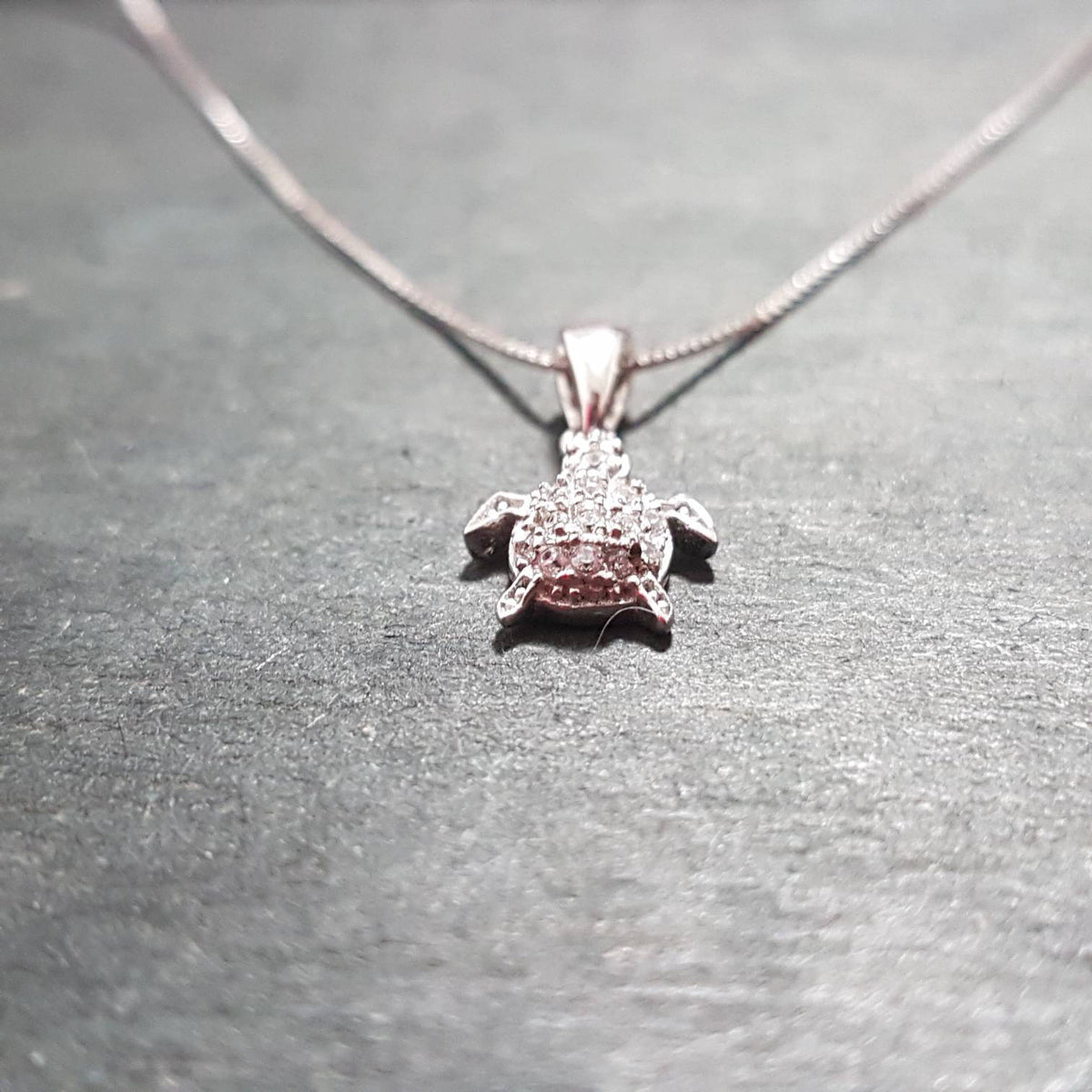 New 14k White Gold On 925 Sea Turtle Pendant Charm