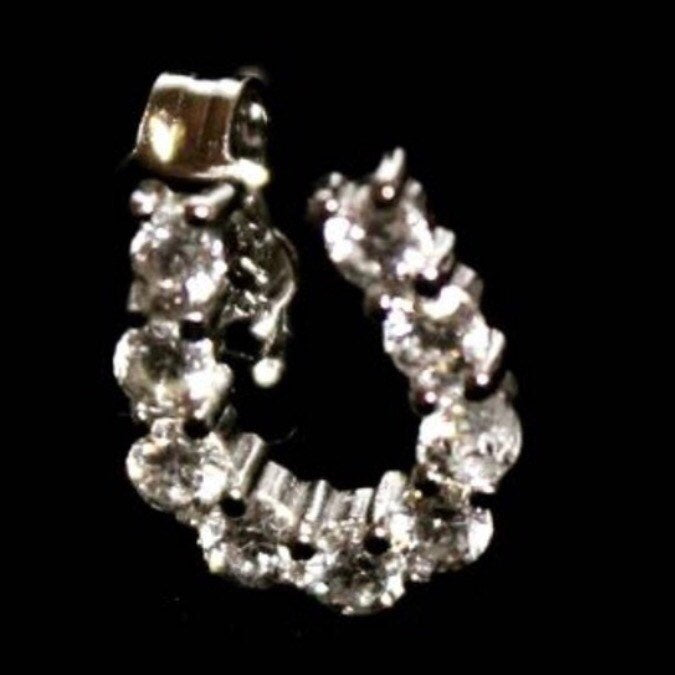 14k White Gold on 925 silver horseshoe earrings - 3 Royal Dazzy