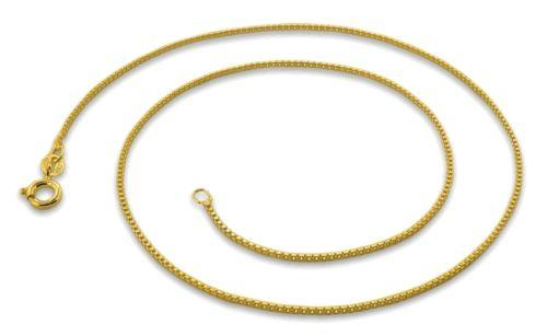 "1 mm box chain -18 ""-Italian 14k yellow gold layered over .925 sterling silver - 3 Royal Dazzy"