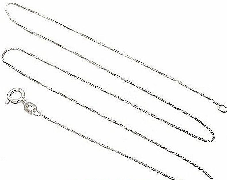 New Italian Solid Anti Tarnish .925 sterling silver box link chain - 1.25 mm 16""