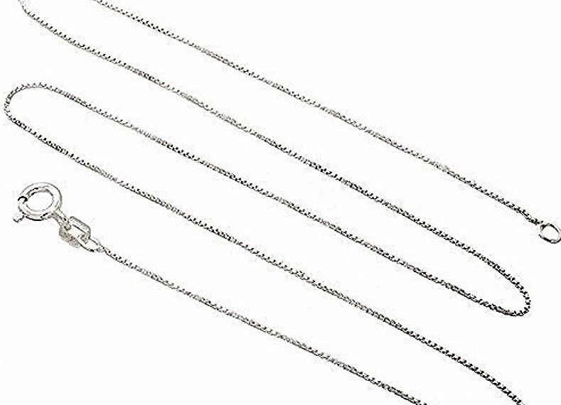 New Italian Solid Anti Tarnish .925 sterling silver box link chain - 1mm 16""