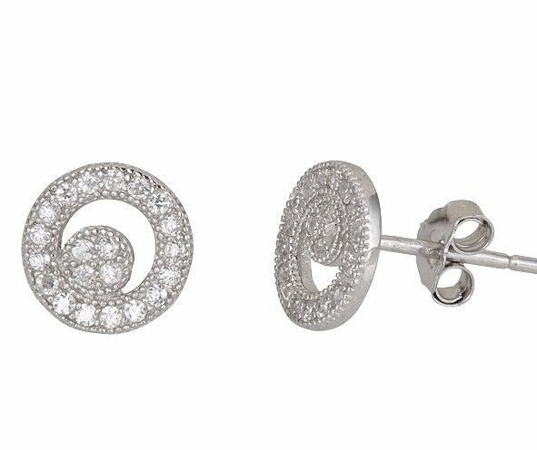 New Round cresent style micro pave with CZ .925 Sterling Silver Stud Earrings