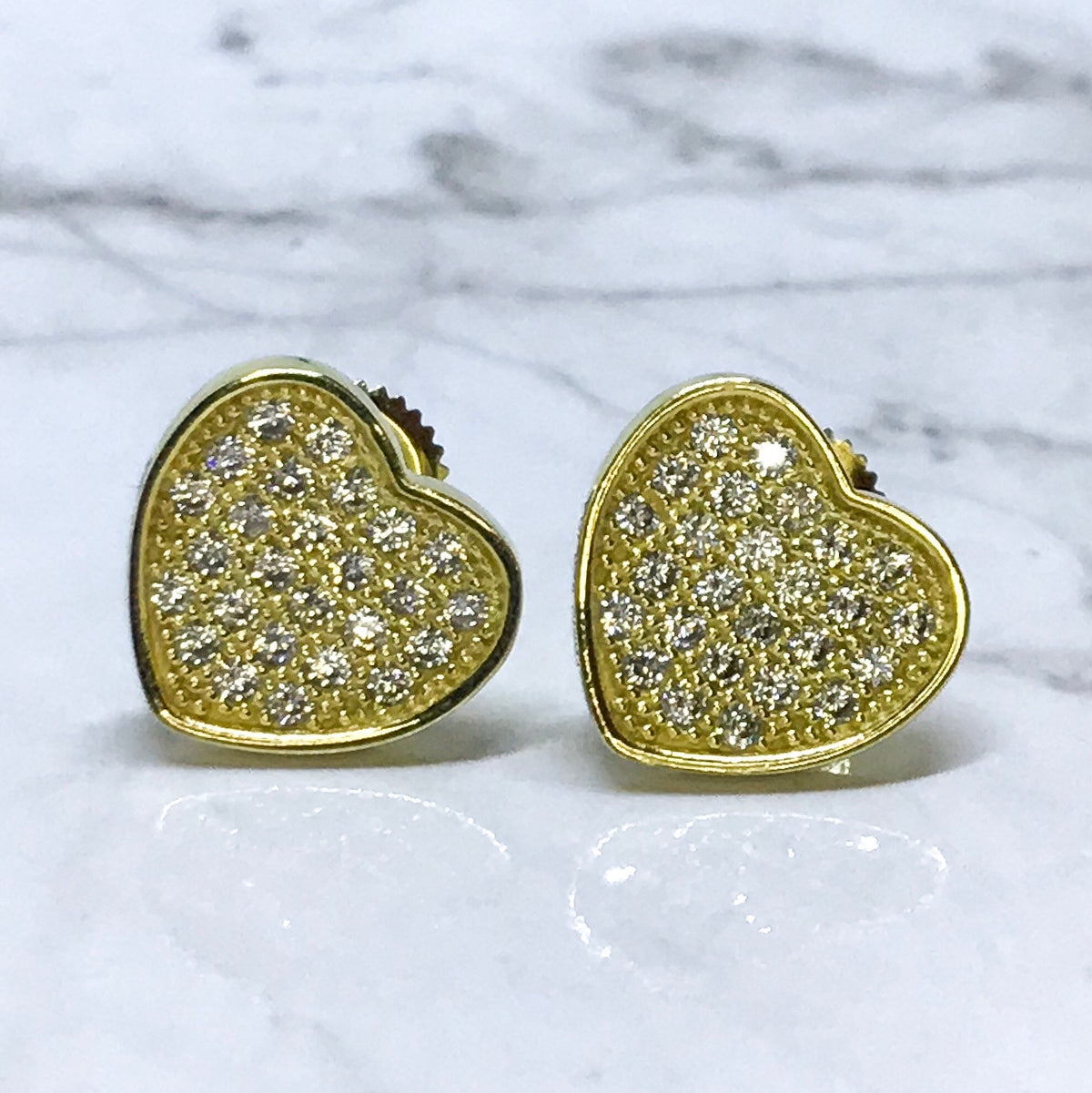 NEW 14K Yellow Gold Layered on Sterling Silver Heart Shaped Screw Back Stud Earrings