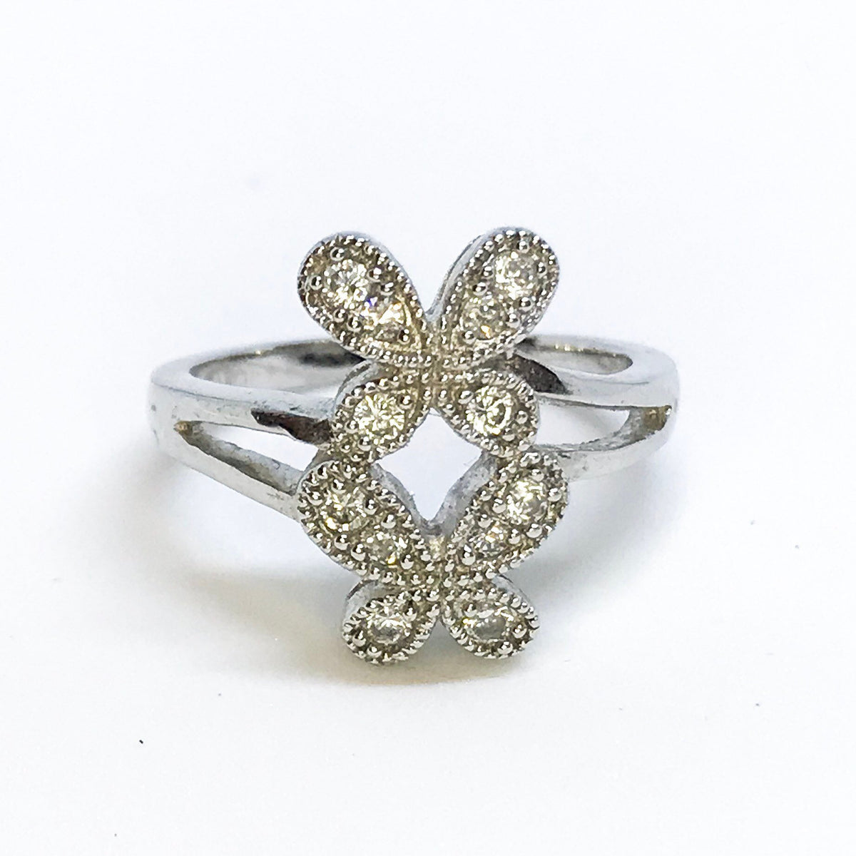 NEW 14K White Gold Layered on Sterling Silver Double Butterflies Ring