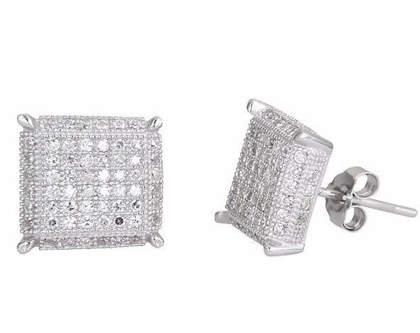 New Square Design Men Fashion Micro CZ Pave .925 Sterling Silver Stud Earrings