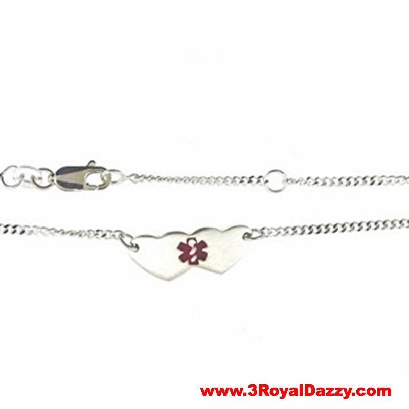 925 Sterling Silver 1mm Childrens ID with Heart Chain Bracelet