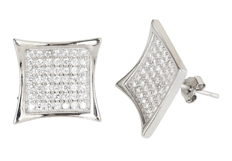 14k White gold layer X Large size Hip Hop CZ .925 Sterling Silver Micro Pave Earrings - 3 Royal Dazzy