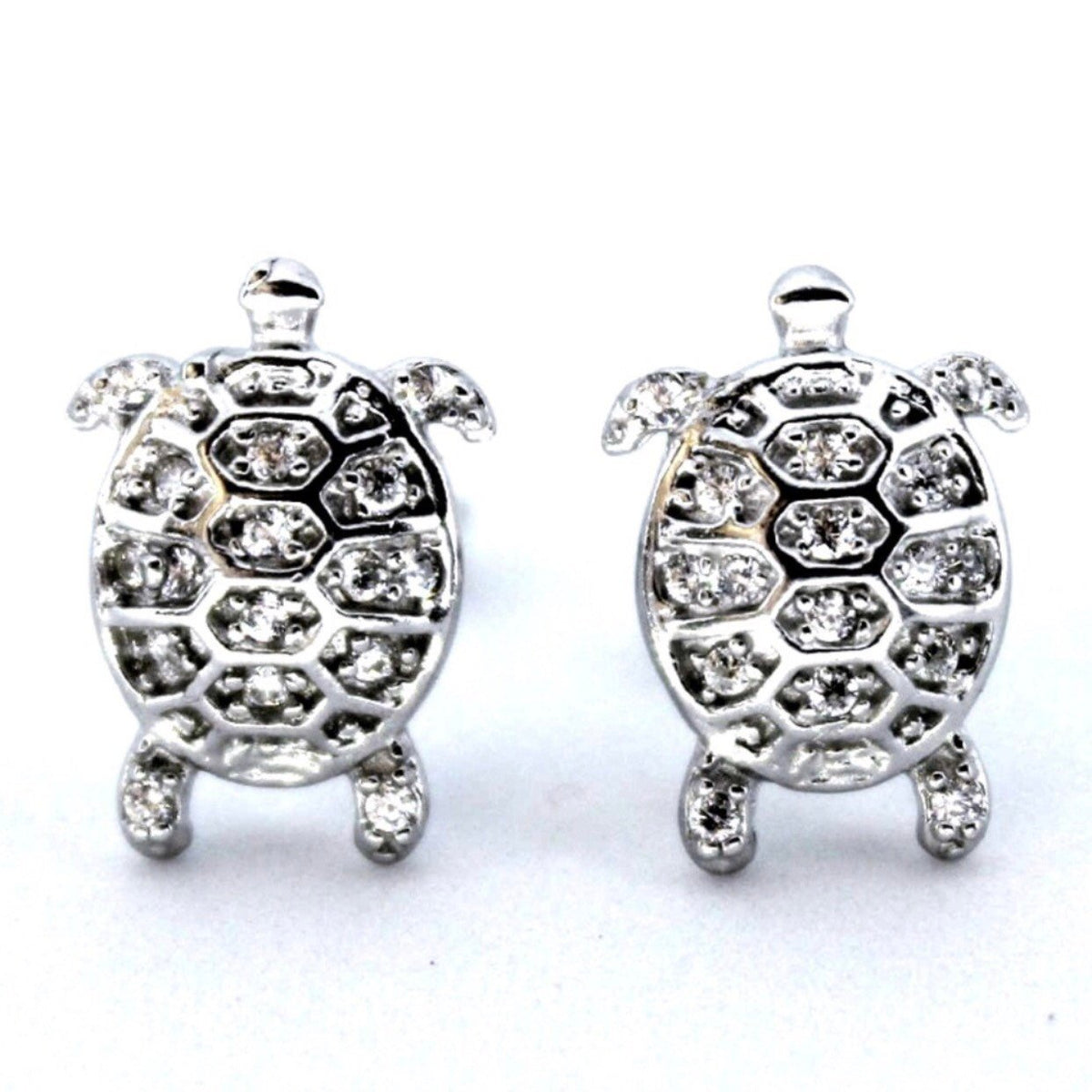 14K White Gold On 925 Sterling Silver Sea Turtle Earrings - 3 Royal Dazzy