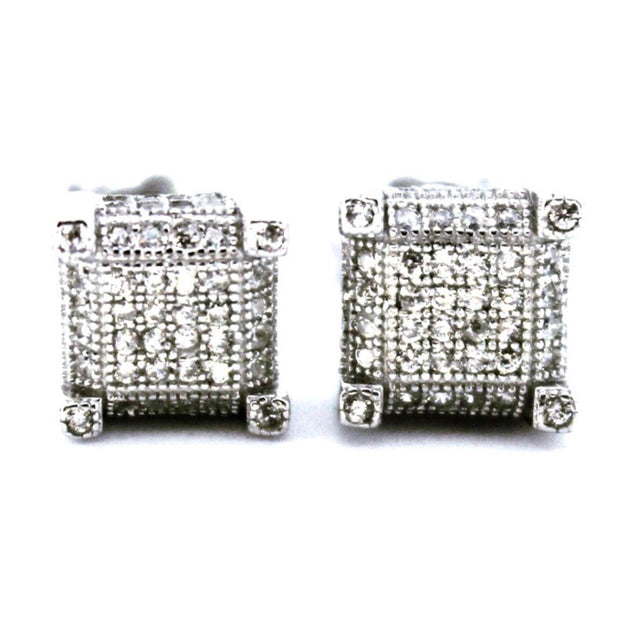 Cute 14k White Gold on Sterling Square Earrings