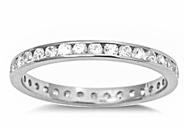 14k W Gold layer on Sterling Silver Wedding 1.00ct- CZ Eternity Ring Band Size 6 - 3 Royal Dazzy