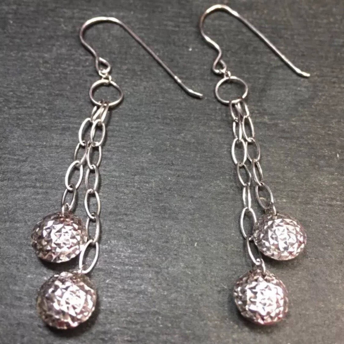 "New 14k Gold Layer On 925 Silver Bar & 2 Disco Ball 2"" Dangling Fishhook Earring"