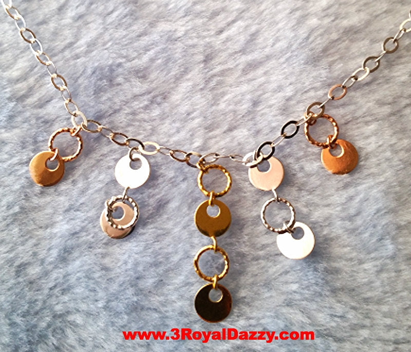 14k Tri Color Rose, Yellow, White Gold Layer on 925 Sterling Silver Glamorous Necklace - 3 Royal Dazzy