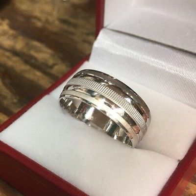 14k White Gold Layer On Sterling Silver Wedding Plain Design Men ring Band S-7 - 3 Royal Dazzy