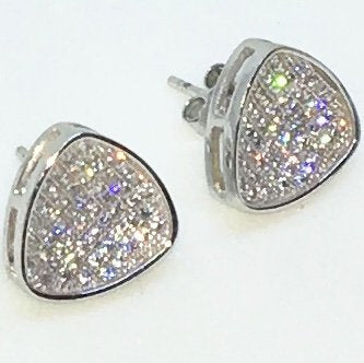 14k White Gold Layered Reuleaux Triangle shaped CZ on 925 Solid Sterling Silver Stud Earrings ( 10 . 8 mm )