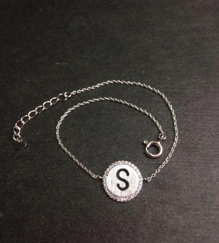 "14k Layer On Solid .925 Silver Letter ""S"" CZ Handset Cable Link Bracelet : 7-8"" - 3 Royal Dazzy"