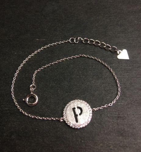 "14k Layer On Solid .925 Silver Letter ""P"" CZ Handset Cable Link Bracelet : 7-8"" - 3 Royal Dazzy"