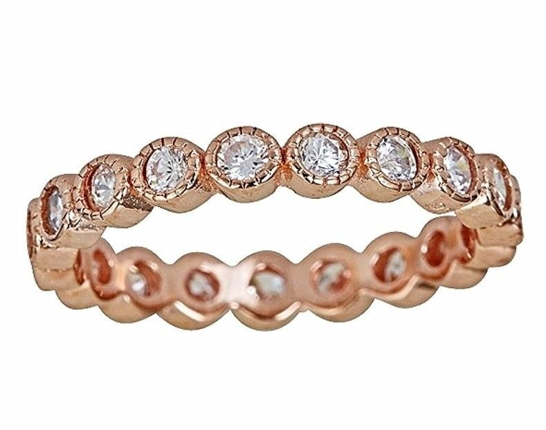 14k Rose Gold on Silver Antique Style Bezel Set Eternity Stackable Ring Band S-8 - 3 Royal Dazzy