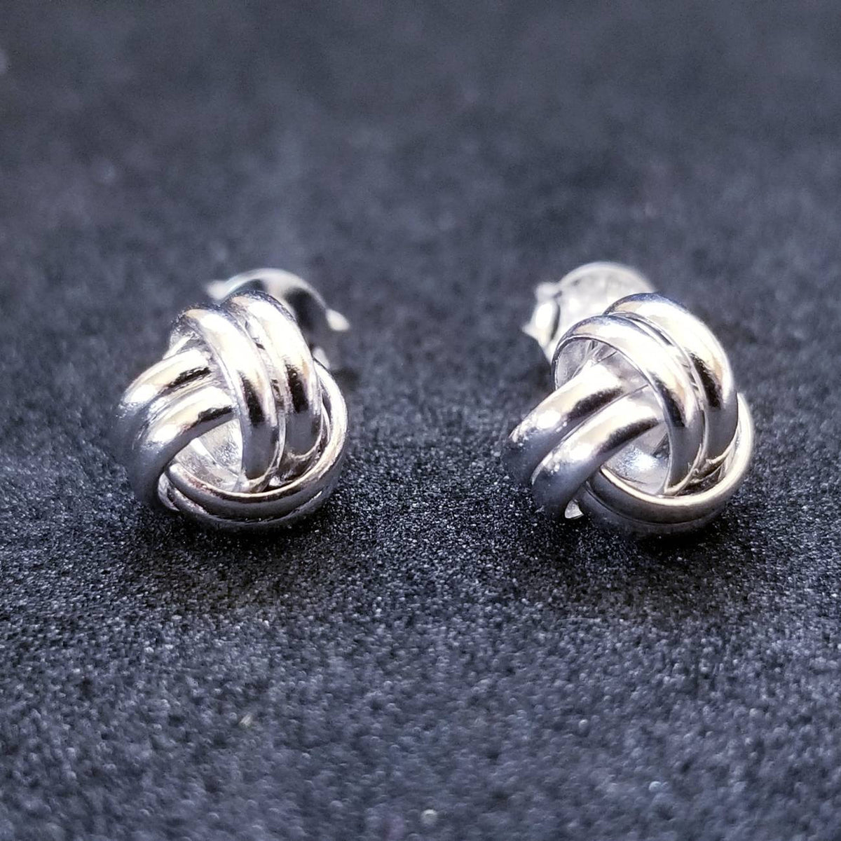 New 14K White Gold on 925 Sterling Silver Knot Earrings