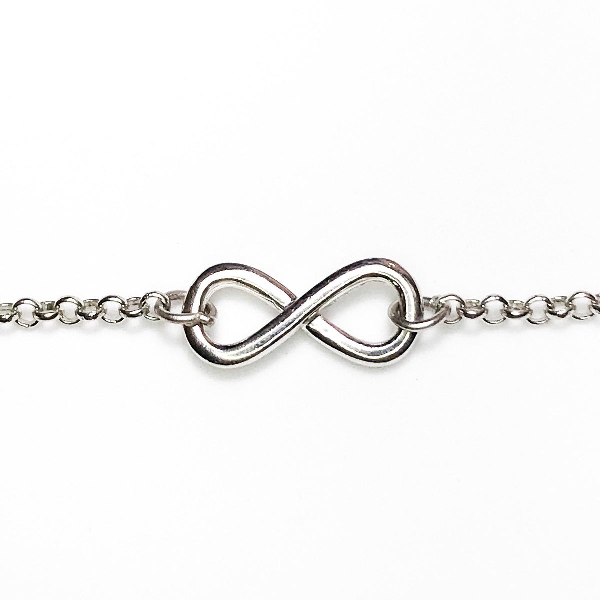 NEW 14k White Layer On 925 Silver Cz Infinity Link Bracelet 1.9 mm -7""