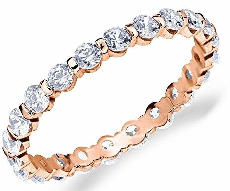 14k R Gold layer on Silver Wedding 0.75ct CZ Stackable Eternity Ring Band Size 8 - 3 Royal Dazzy